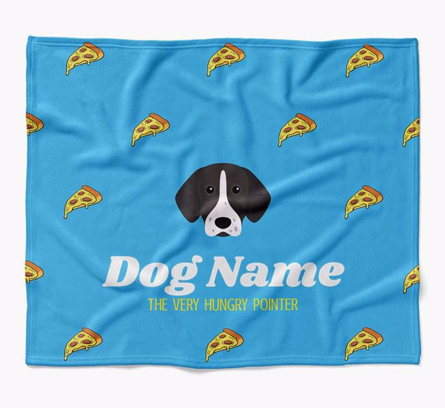 Personalized 'The Very Hungry Pointer' Blanket with Pizza Print