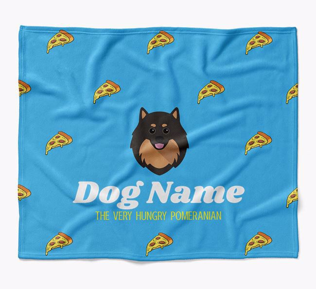 Personalized 'The Very Hungry Pomeranian' Blanket with Pizza Print