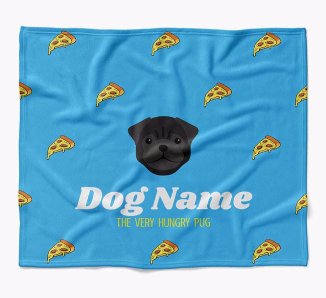 Personalized 'The Very Hungry Pug' Blanket with Pizza Print