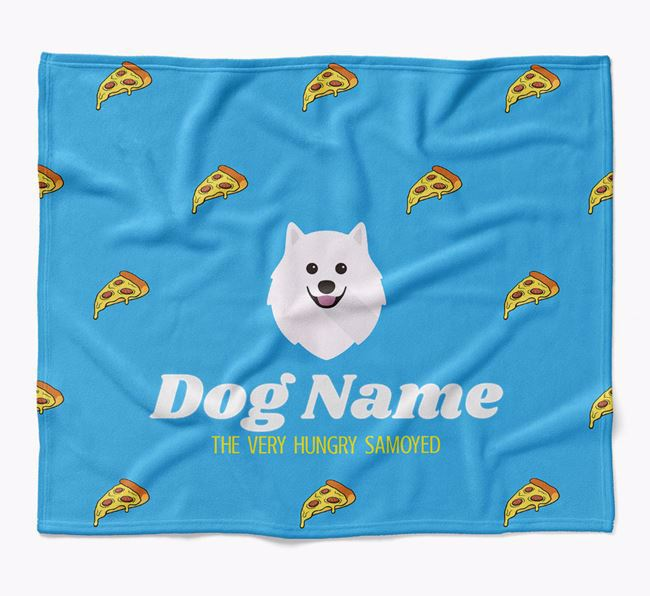 Personalized 'The Very Hungry Samoyed' Blanket with Pizza Print
