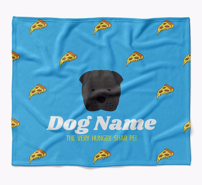 Personalized 'The Very Hungry Shar Pei' Blanket with Pizza Print