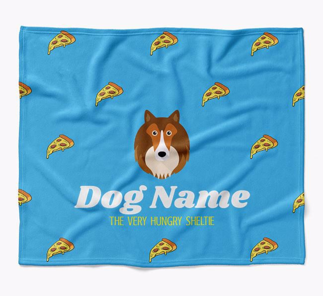 Personalized 'The Very Hungry Shetland Sheepdog' Blanket with Pizza Print