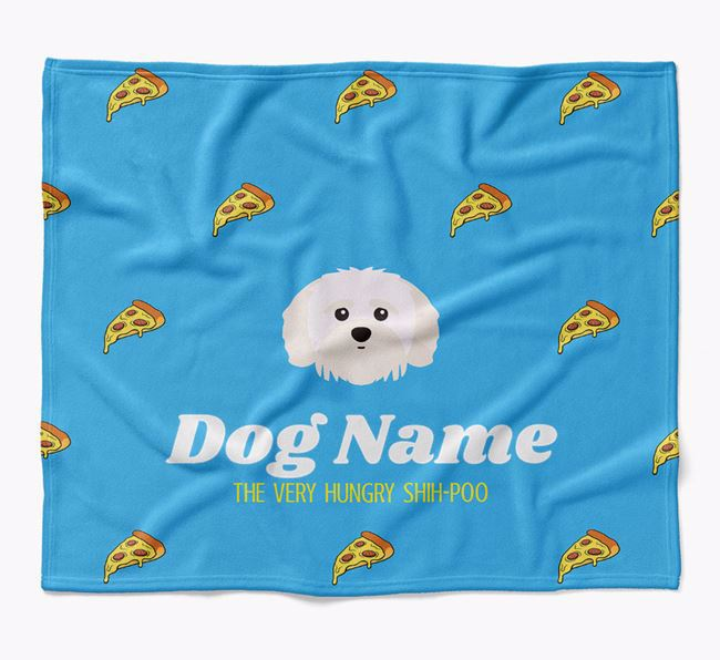 Personalized 'The Very Hungry Shih-poo' Blanket with Pizza Print