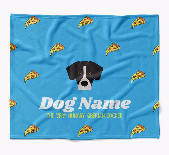 Personalized 'The Very Hungry Siberian Cocker' Blanket with Pizza Print
