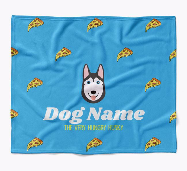 Personalized 'The Very Hungry Siberian Husky' Blanket with Pizza Print