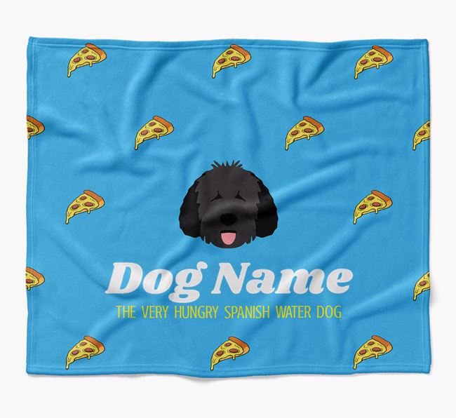 Personalized 'The Very Hungry Spanish Water Dog' Blanket with Pizza Print