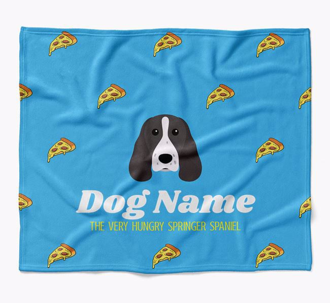 Personalized 'The Very Hungry Springer Spaniel' Blanket with Pizza Print