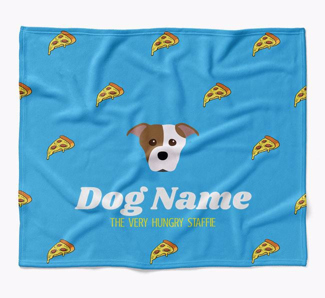 Personalized 'The Very Hungry Staffordshire Bull Terrier' Blanket with Pizza Print
