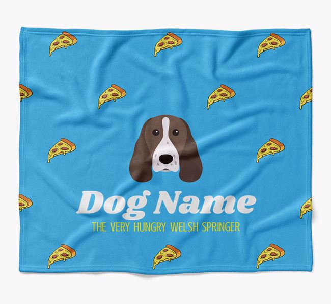 Personalized 'The Very Hungry Welsh Springer Spaniel' Blanket with Pizza Print