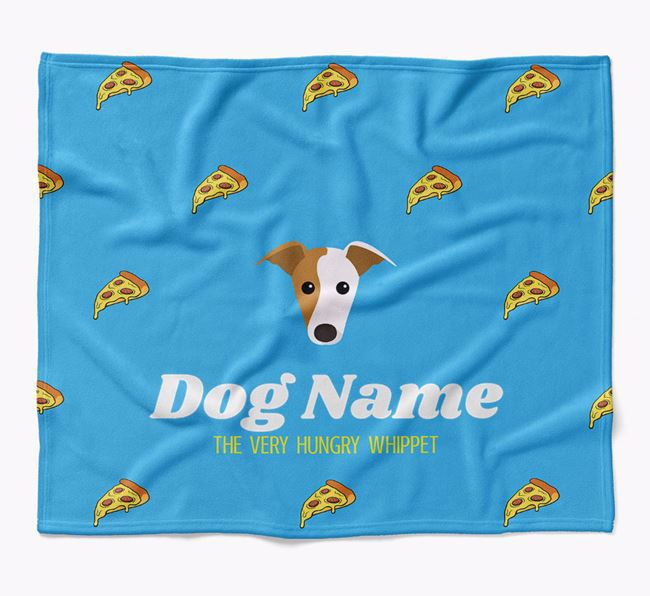 Personalized 'The Very Hungry Whippet' Blanket with Pizza Print