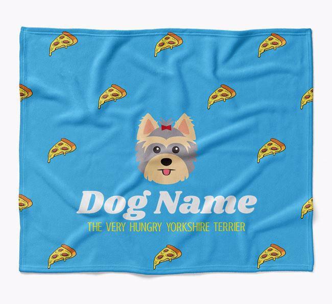Personalized 'The Very Hungry Yorkshire Terrier' Blanket with Pizza Print