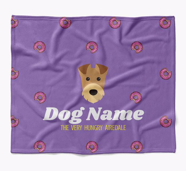 Personalized 'The Very Hungry Airedale Terrier' Blanket with Doughnut Print
