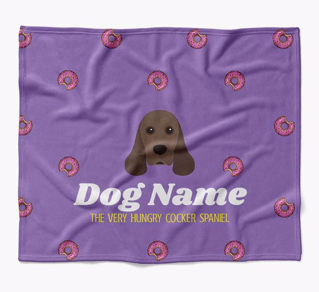 Personalized 'The Very Hungry American Cocker Spaniel' Blanket with Doughnut Print