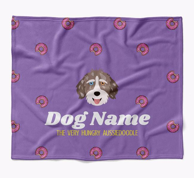 Personalized 'The Very Hungry Aussiedoodle' Blanket with Doughnut Print