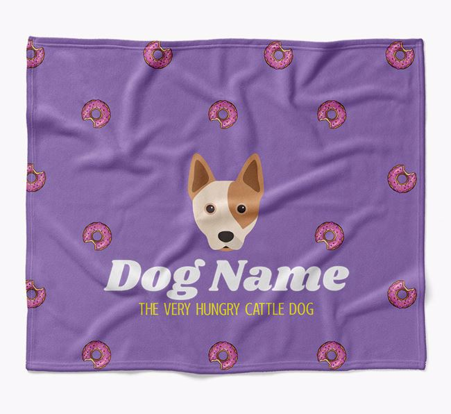 Personalized 'The Very Hungry Australian Cattle Dog' Blanket with Doughnut Print