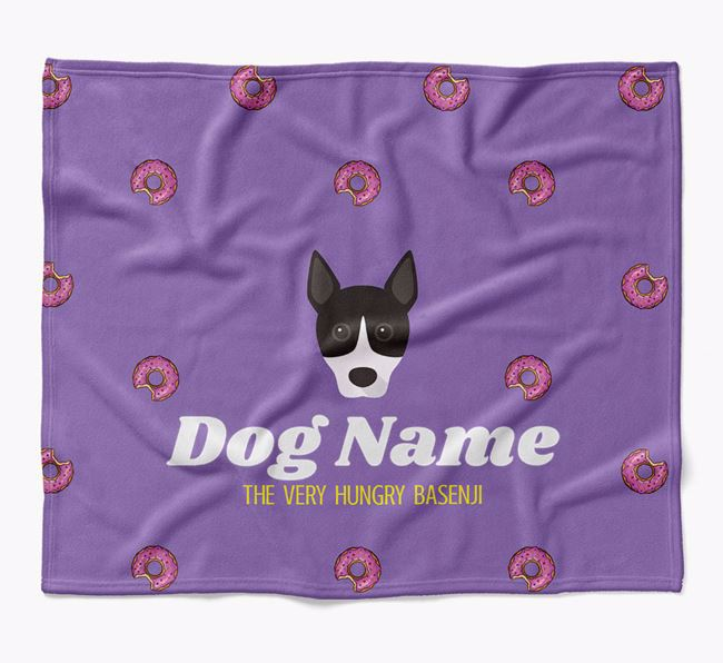Personalized 'The Very Hungry Basenji' Blanket with Doughnut Print