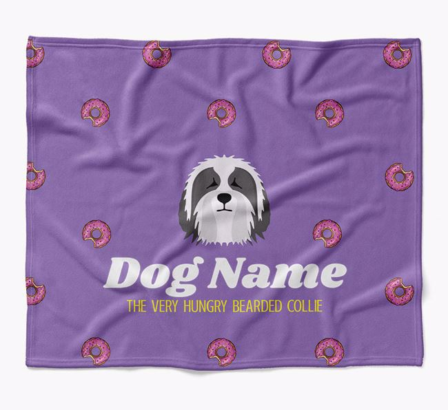 Personalized 'The Very Hungry Bearded Collie' Blanket with Doughnut Print