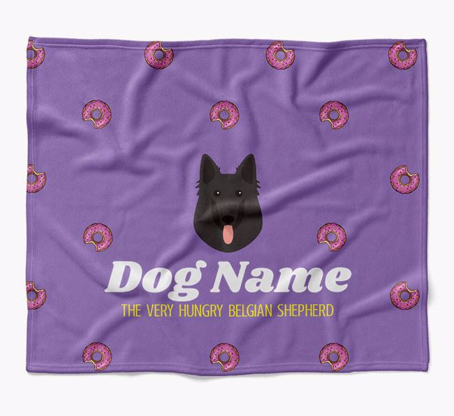 Personalized 'The Very Hungry Belgian Groenendael' Blanket with Doughnut Print