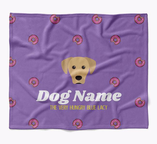 Personalized 'The Very Hungry Blue Lacy' Blanket with Doughnut Print