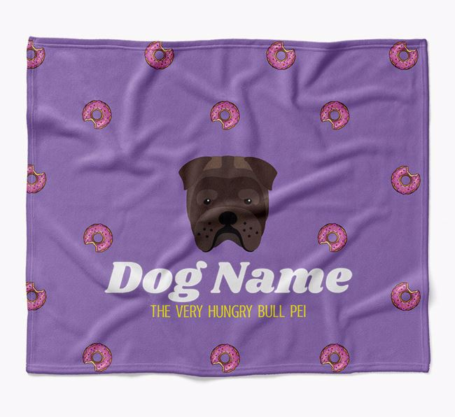 Personalized 'The Very Hungry Bull Pei' Blanket with Doughnut Print