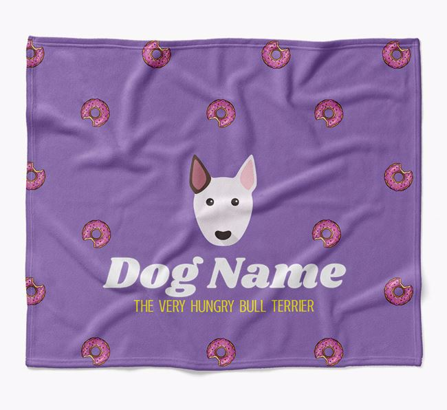 Personalized 'The Very Hungry Bull Terrier' Blanket with Doughnut Print