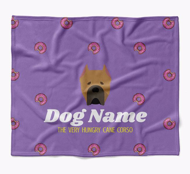 Personalized 'The Very Hungry Cane Corso Italiano' Blanket with Doughnut Print