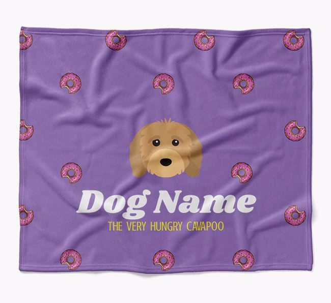 Personalized 'The Very Hungry Cavapoo' Blanket with Doughnut Print