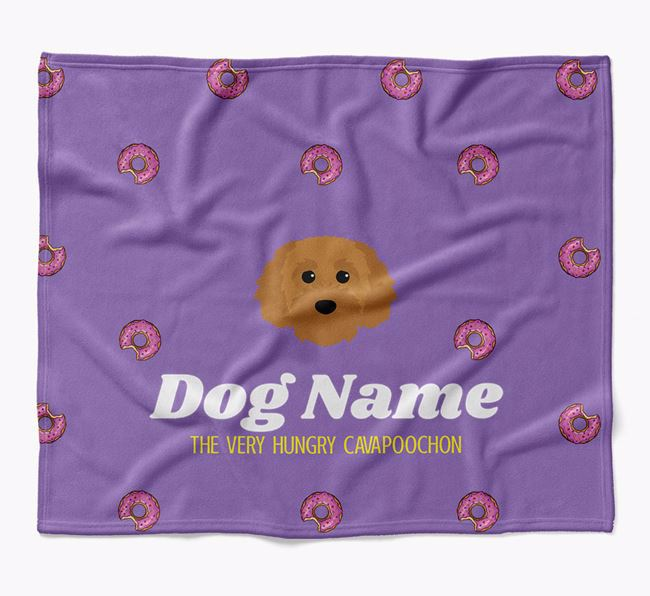 Personalized 'The Very Hungry Cavapoochon' Blanket with Doughnut Print