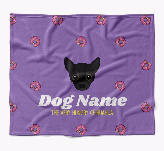 Personalized 'The Very Hungry Chihuahua' Blanket with Doughnut Print