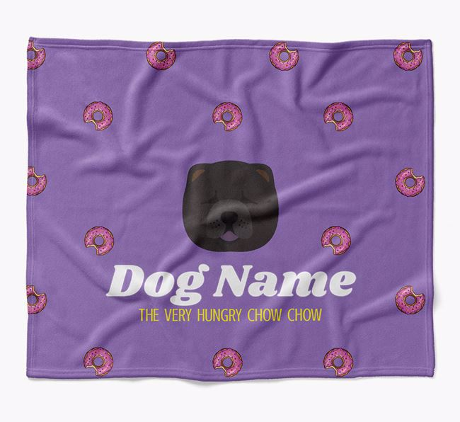 Personalized 'The Very Hungry Chow Chow' Blanket with Doughnut Print