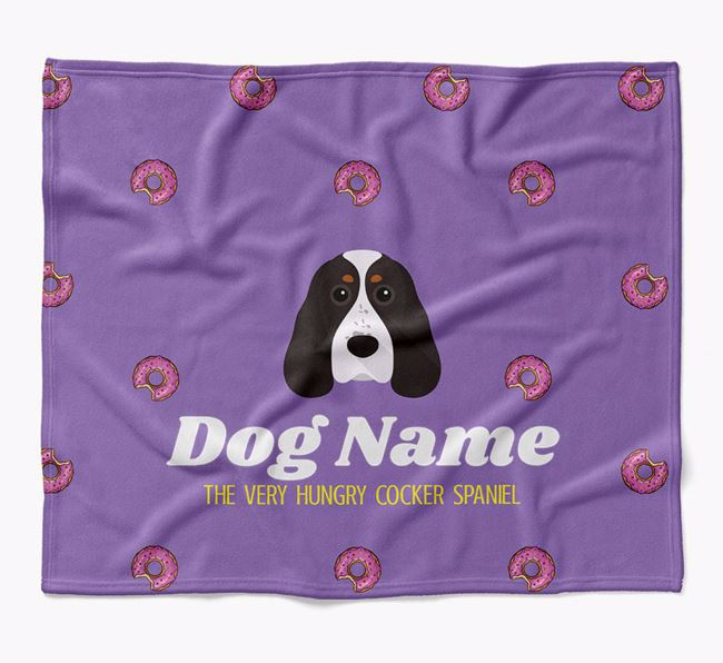Personalized 'The Very Hungry Cocker Spaniel' Blanket with Doughnut Print