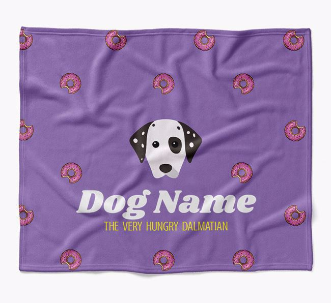 Personalized 'The Very Hungry Dog' Blanket with Doughnut Print