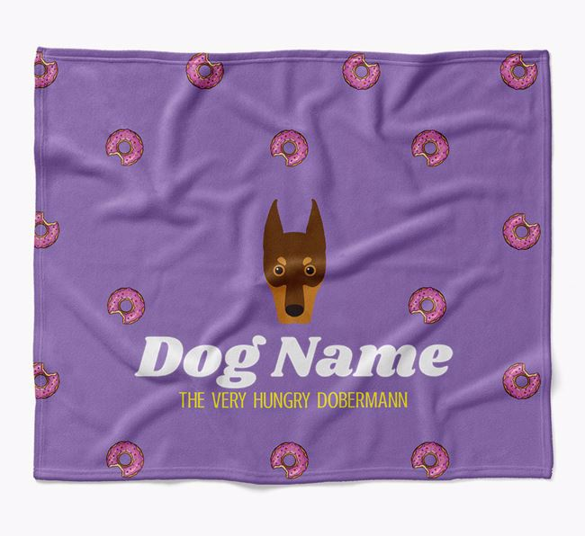 Personalized 'The Very Hungry Dobermann' Blanket with Doughnut Print