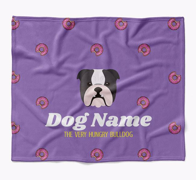 Personalized 'The Very Hungry English Bulldog' Blanket with Doughnut Print
