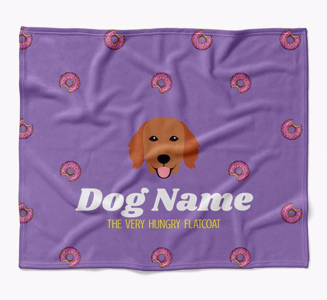 Personalized 'The Very Hungry Flat-Coated Retriever' Blanket with Doughnut Print