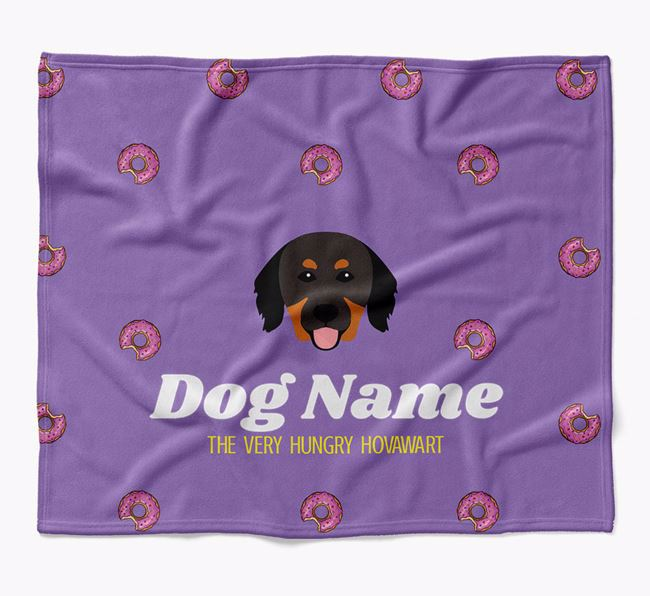 Personalized 'The Very Hungry Hovawart' Blanket with Doughnut Print