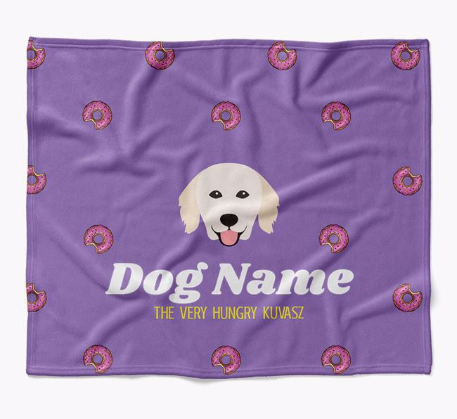 Personalized 'The Very Hungry Hungarian Kuvasz' Blanket with Doughnut Print