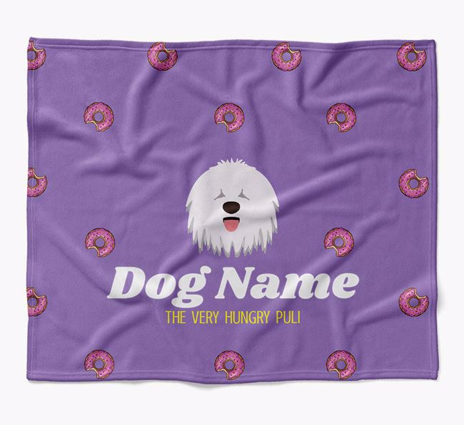 Personalized 'The Very Hungry Hungarian Puli' Blanket with Doughnut Print