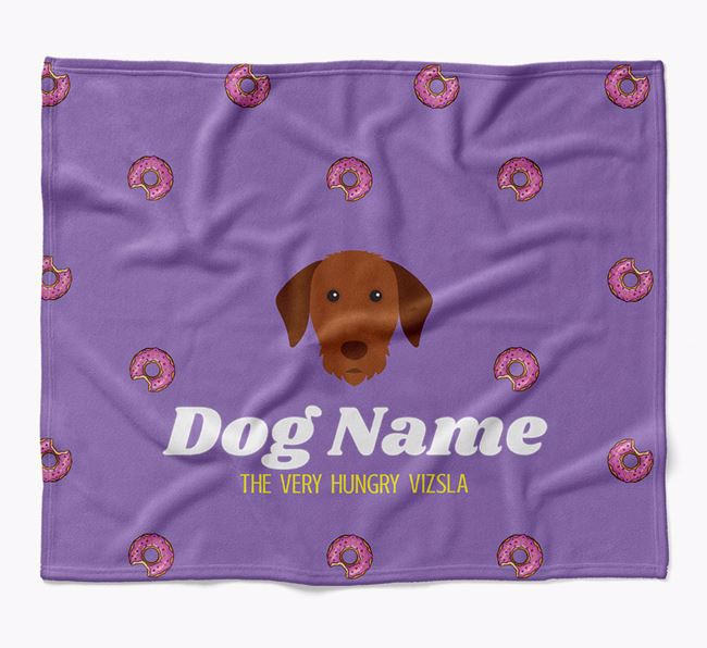 Personalized 'The Very Hungry Hungarian Vizsla' Blanket with Doughnut Print