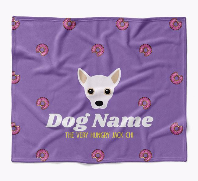 Personalized 'The Very Hungry Jackahuahua' Blanket with Doughnut Print