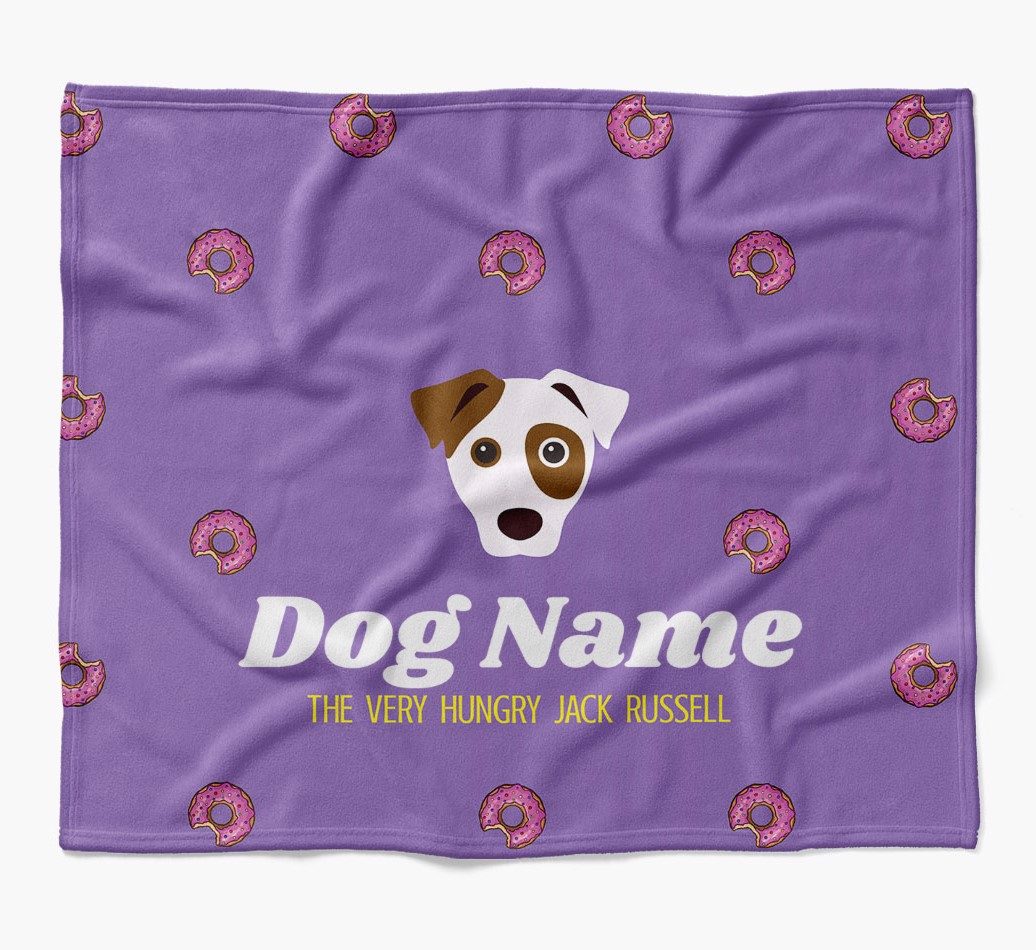 Personalized 'The Very Hungry Dog' Blanket with Doughnut Print flat