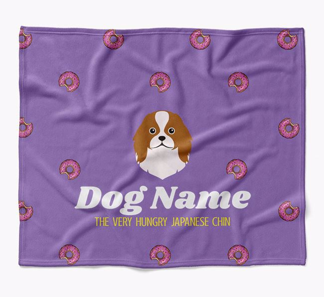 Personalized 'The Very Hungry Japanese Chin' Blanket with Doughnut Print