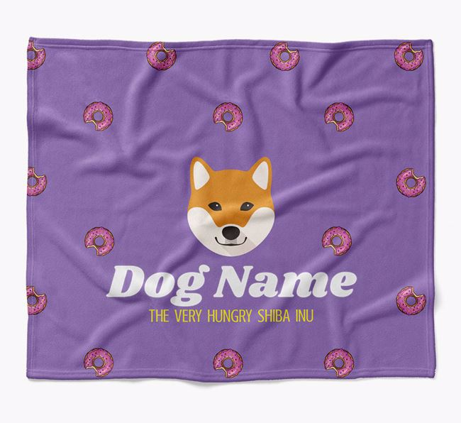 Personalized 'The Very Hungry Japanese Shiba' Blanket with Doughnut Print