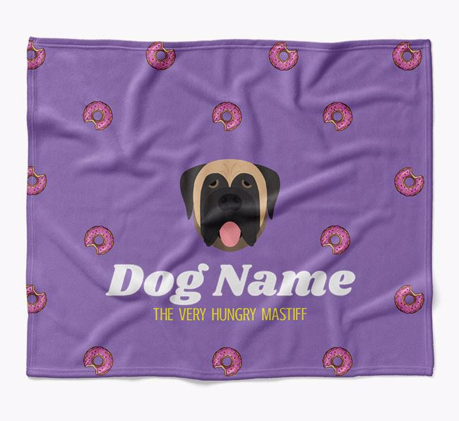 Personalized 'The Very Hungry Mastiff' Blanket with Doughnut Print