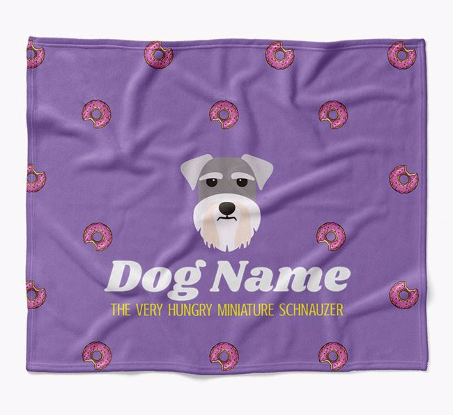 Personalized 'The Very Hungry Miniature Schnauzer' Blanket with Doughnut Print