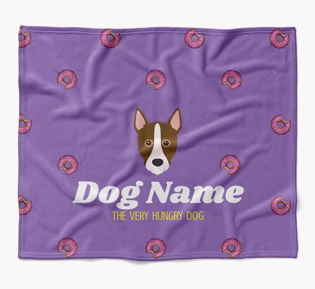 Personalized 'The Very Hungry Mixed Breed' Blanket with Doughnut Print