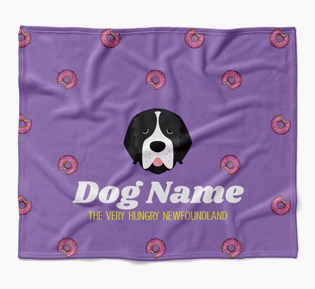 Personalized 'The Very Hungry Newfoundland' Blanket with Doughnut Print