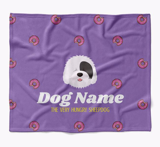 Personalized 'The Very Hungry Old English Sheepdog' Blanket with Doughnut Print