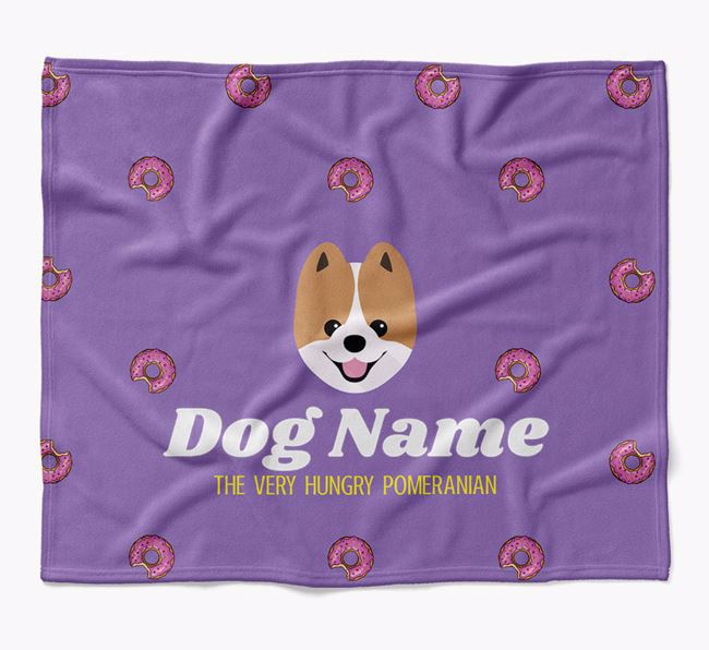 Personalized 'The Very Hungry Pomeranian' Blanket with Doughnut Print