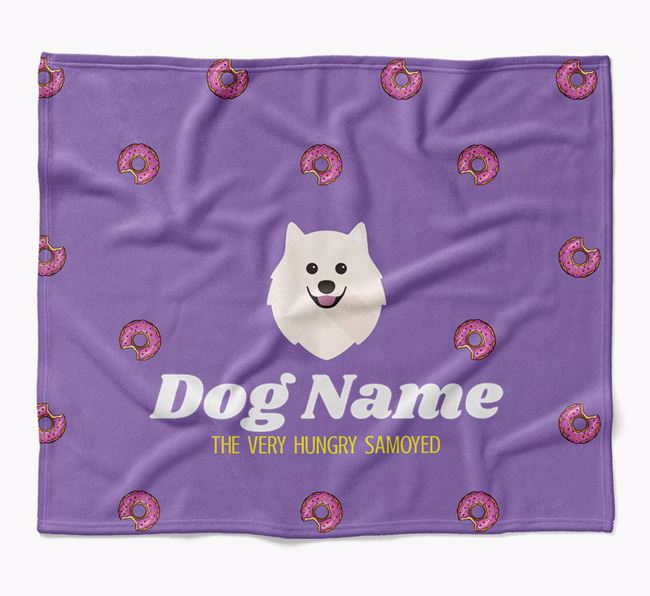 Personalized 'The Very Hungry Samoyed' Blanket with Doughnut Print